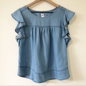 Gap Flutter Sleeve Chambray Top